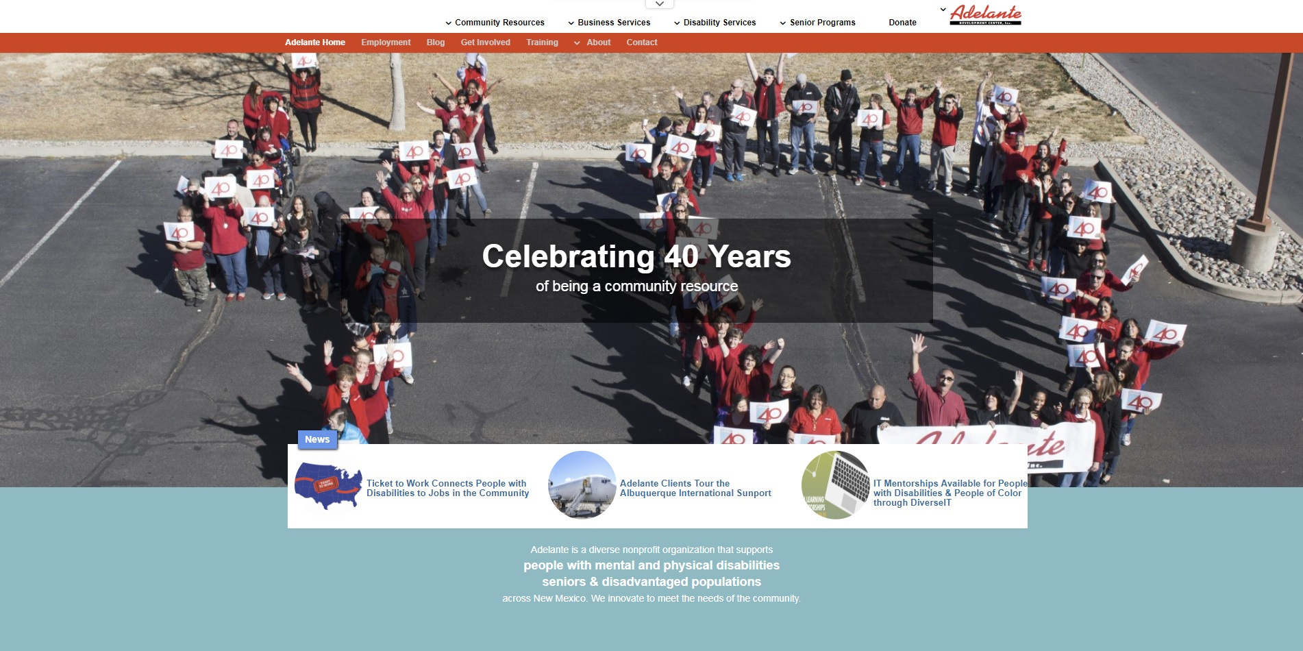 Screenshot shown of Adelante's homepage with 40th anniversary photo highlighted