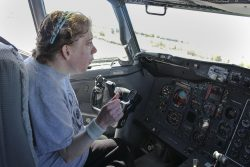 One of the clients sitting in the pilot seat