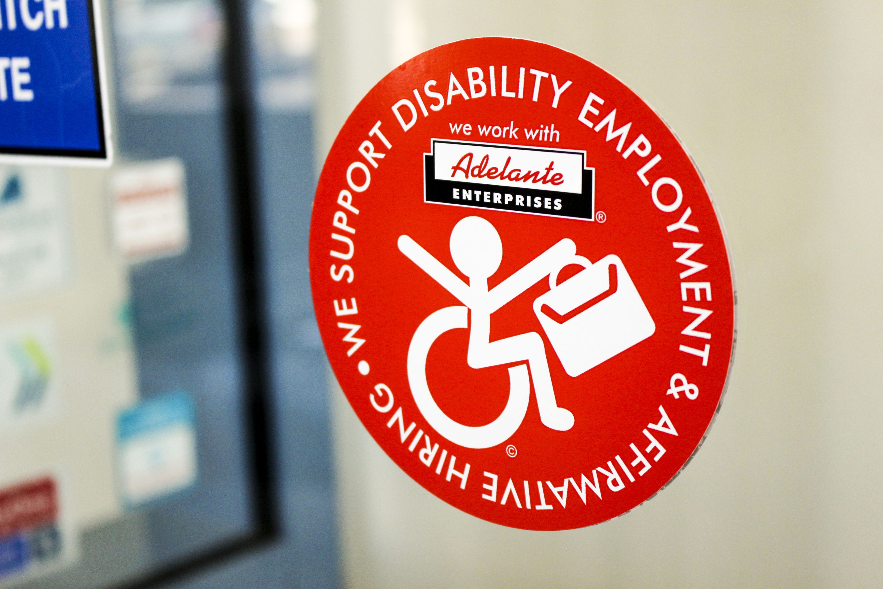 "photo of magnet that says ""We Support Disability Employment & Affirmative Hiring"""
