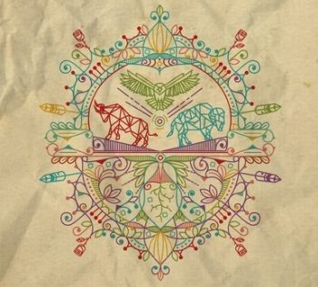 A colorful design with a ram, a buffalo, and a bird of prey in the middle. Surrounding them are different symbols of nature, like feathers and flowers.