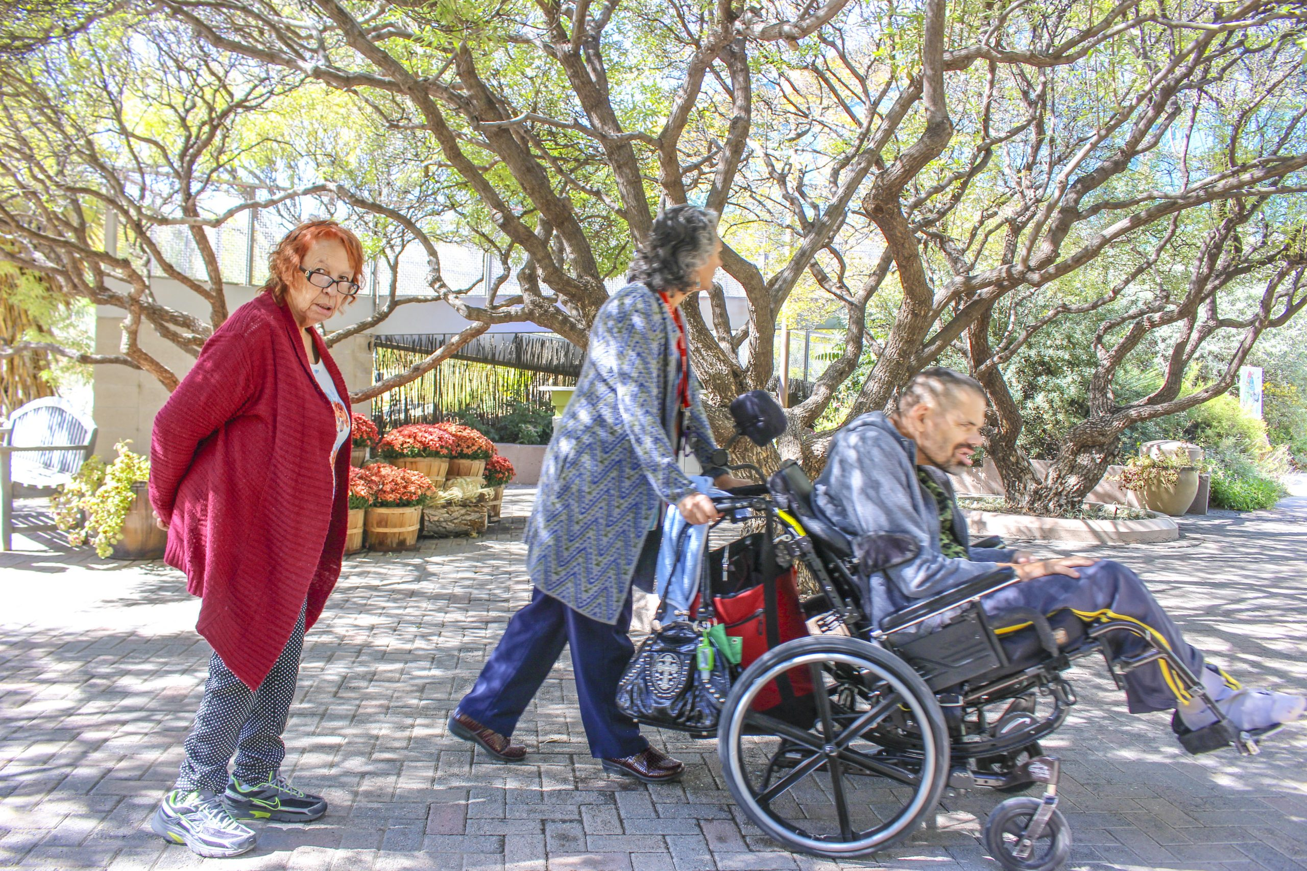 Three people are in the picture. On the right is a man in a wheelchair being pushed by a woman who is a direct support professional. Behind the direct support professional is a female client looking at the camera. They are in the shade under large trees outside. It is sunny and the trees are green.