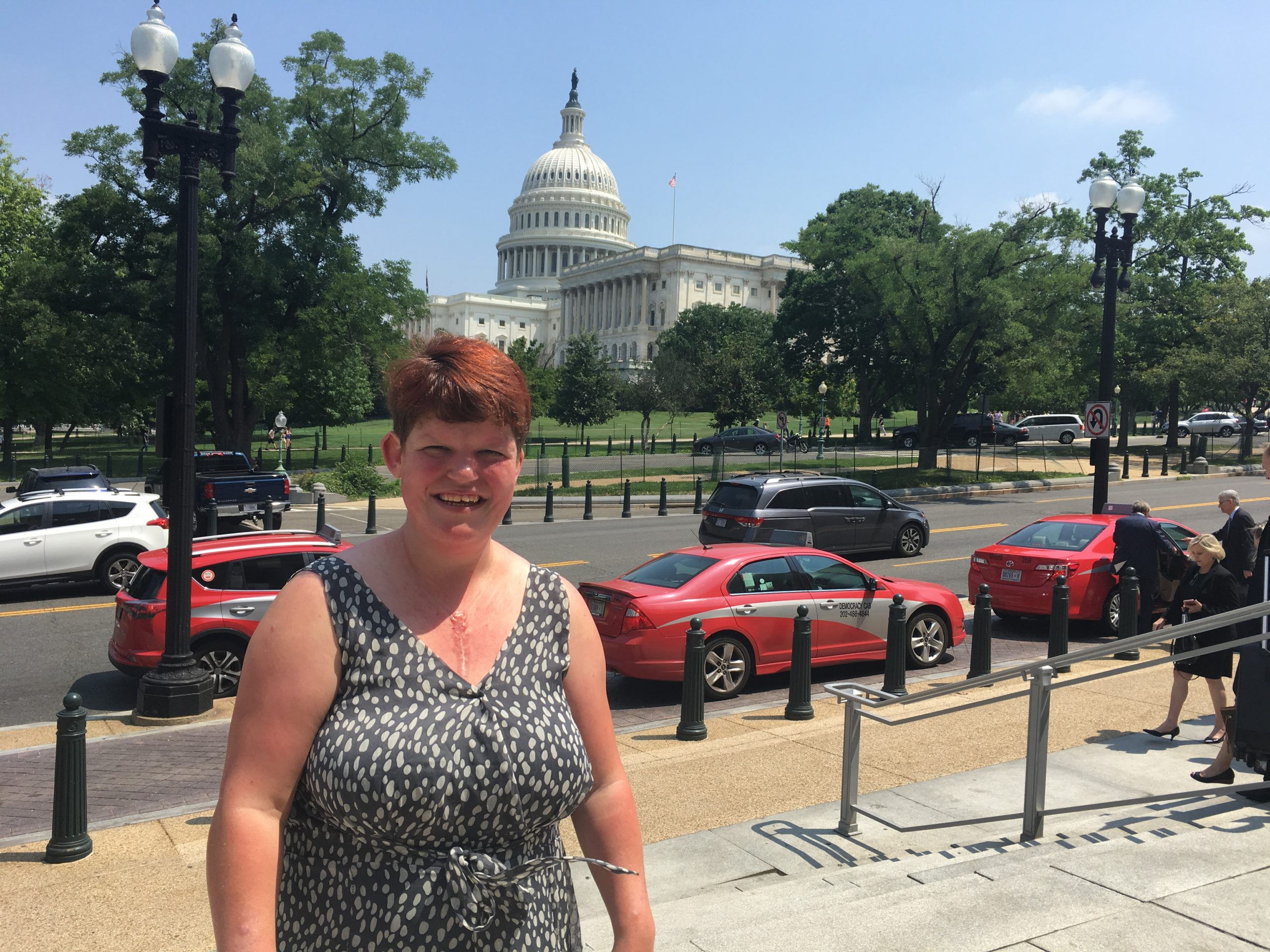 Jessica, an Adelante associate, stands in front of the Capitol Building in Washington, D.C. It is here where the ADA was voted on 30 years ago.