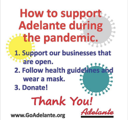 graphic telling how to support Adelante's nonprofit work during the pandemic including donations, mask wearing, and using the organization's business services