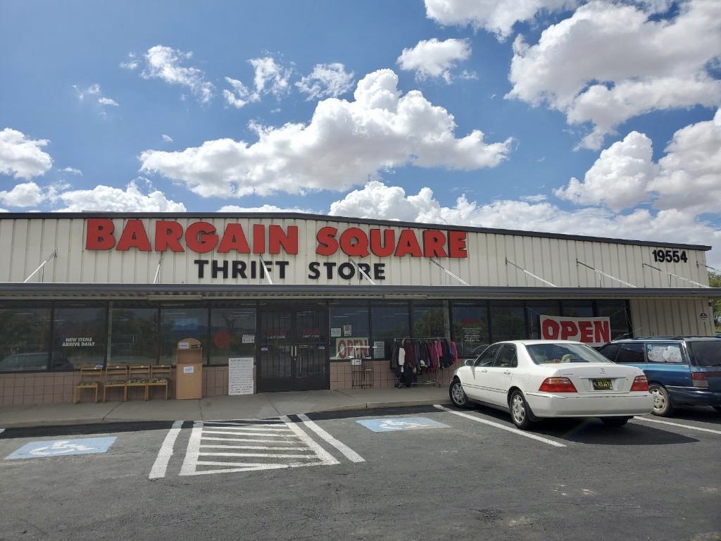 Bargain Square thrift store on Highway 314 in Belen; store exterior is shown.