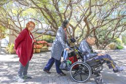 A woman, one of Adelante's direct support professionals, pushes a man in a wheelchair outside. Another client, a woman, follows.