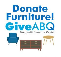 donate furniture to GiveABQ with a chair dresser and table as examples of what can be donated