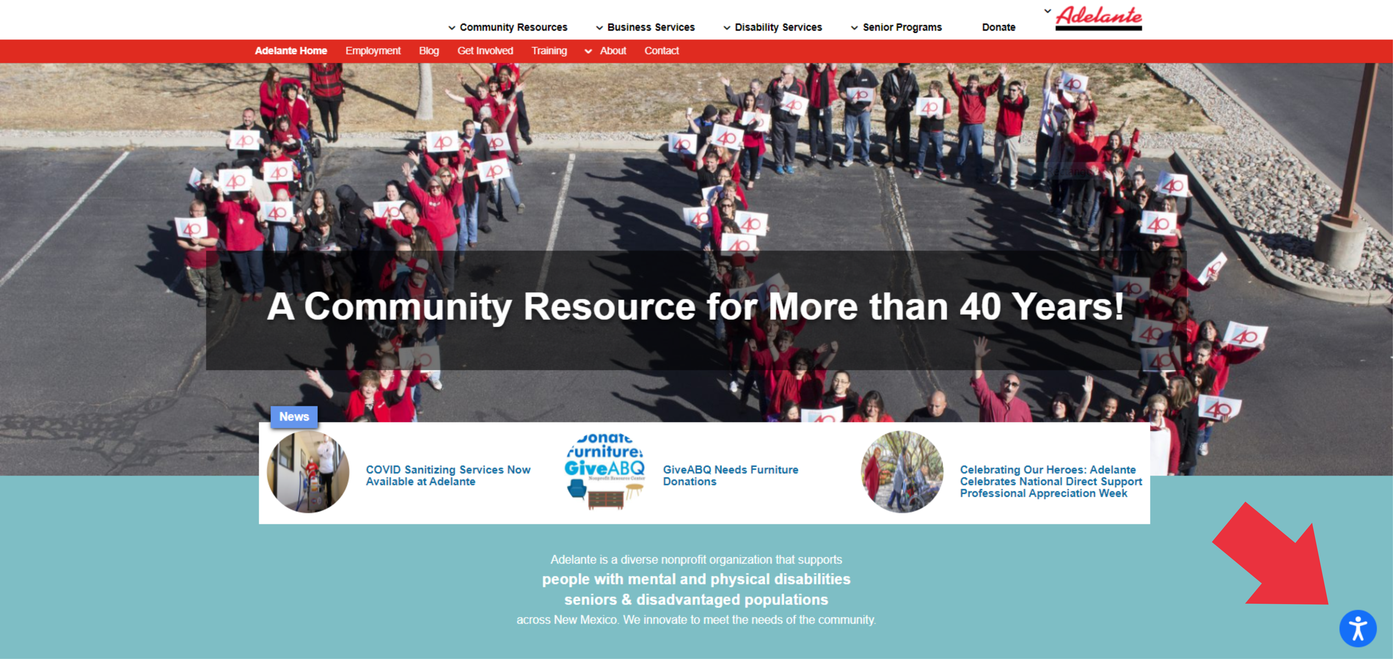 This is a screenshot of the GoAdelante.org webpage, with a red arrow pointing to the AccessiBe icon in the bottom right-hand corner of the page. This can help make the internet accessible to all!