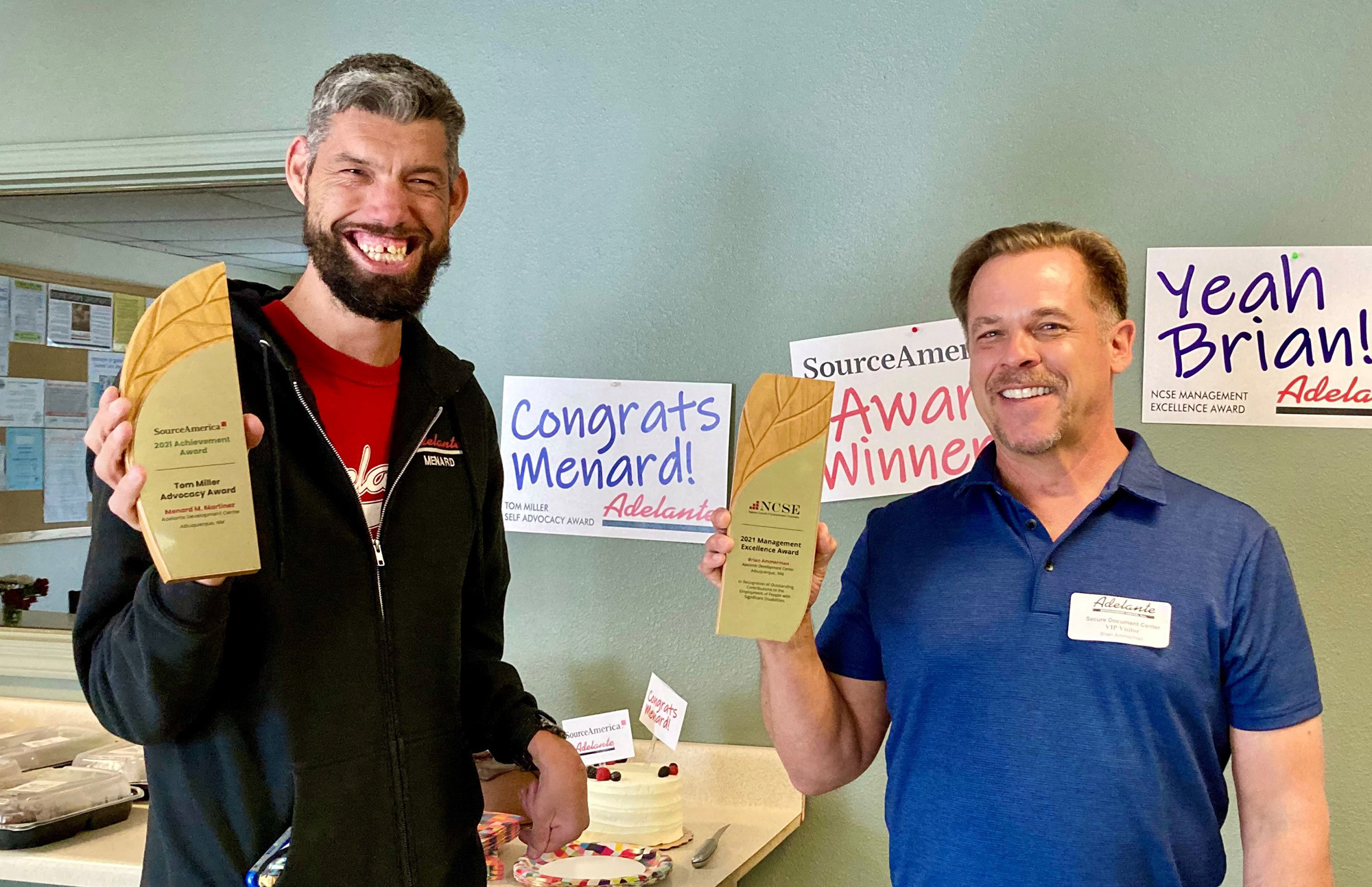 Menard Martinez and Brian Ammerman received awards for advocacy and leadership from SourceAmerica.